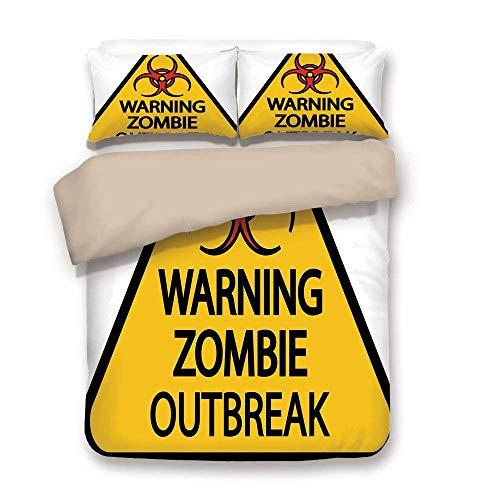 e-Dekor, Warnung Zombie Ausbruch Zeichen Friedhof Infektion Halloween Grafik dekorative, Erde gelb rot schwarz, dekorative 3 Stück Bettwäsche Set von 2 Kissen Shams King Size ()