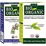 Indus Valley Bio Organic Natural Indigo Powder and Henna Powder Combo for Back Hair Colour (100+100 g)