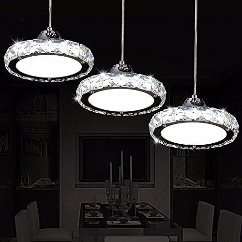Led-Leuchten im Restaurant Restaurant Crystal Kronleuchter drei Moderne, einfache runde Wohnzimmer Esszimmer Bar Tisch Esstisch Kronleuchter, Weiß Deckenplattengröße: 480 * 90MM (Runde-tisch-kronleuchter)