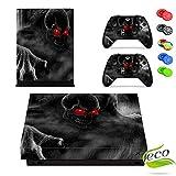 Xbox One X Skin Sticker, Morbuy Designfolie Vinyl-Folie Aufkleber für Konsole + 2 Controller Aufkleber Schutzfolie Set +10 pc Silikon Thumb Grips (Roter Augen-Schädel)