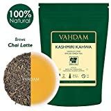 VAHDAM, foglia sciolta di tè Kashmiri Kahwa | 100 grammi (50 tazze) | SPEZIE NATURALI 100% | | Tè verde, cannella, cardamomo, mandorla, zafferano | Foglia sciolta speziata Chai Tea | Dall'India