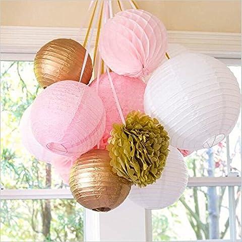 Or Rose Blanc Boules Alvéolée Lanterne Pompon et Fleur pour Décoration de Mariage Baptème Anniversaire (lot de 11)