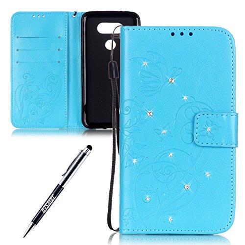 jawseu-motivo-farfalle-in-pelle-per-cellulare-per-LG-G5-elegante-retro-Fn1415-rosa-DiamanteblingGlitterstrasslucido-farfalla-fiore-copertura-interna-in-PU-Pelle-Chiusura-magnetica-Strap-Protektiv-Flip