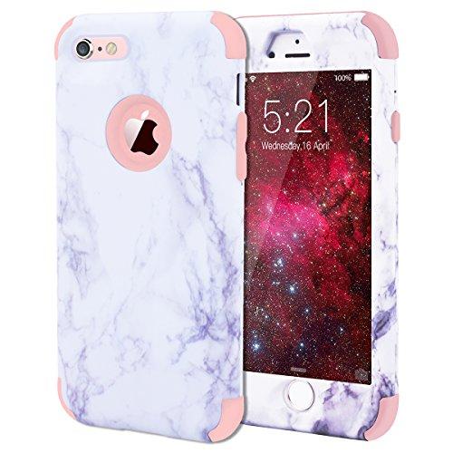 WE LOVE CASE iPhone 6 Plus Cover Marmo 360-Grad all Inclusive Custodia Rose Cassa Duro del PC di Plastica e Silicone…