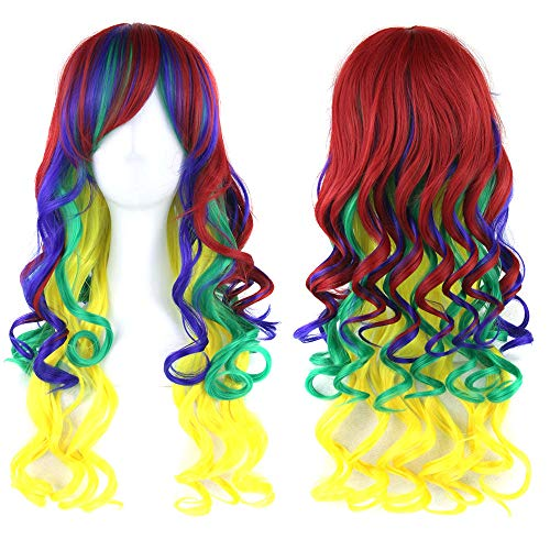 Qlldwxu Wig 70cm Long Ladies Hair Color high Temperature Fiber Wig pink Blue Synthetic Hair Cosplay Wig @ JBS-01_28 inches