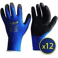S&R 12 Guantes de Trabajo de Nylon y Latex – 12 pares - Talla L / 9