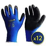 S&R 12 Guantes de Trabajo de Nylon y Latex ? 12 pares - Talla L / 9