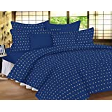 Trance Home Linen 100% Cotton 300TC Premium Printed King Fitted Bed Sheet With 2 Pillow Covers (Blue With Brown Floral)