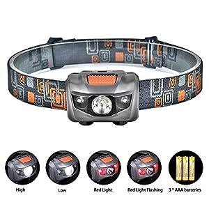 Linkax Linterna Frontal LED Linterna de cabeza 120 Lúmenes y 4 Modos de Luz Frontal Lampára de Cabeza Impermeable Para Camping Pesca Ciclismo Carrera Caza 3 Pilas AAA incluidas