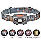 Linkax LED Headlamp Headlight Super Bright 120 Lumens LED Head Lamp Flash Light Torch Waterproof Lightweight 4 Modes Helmet Light for Running Camping Hiking Fishing Lighting