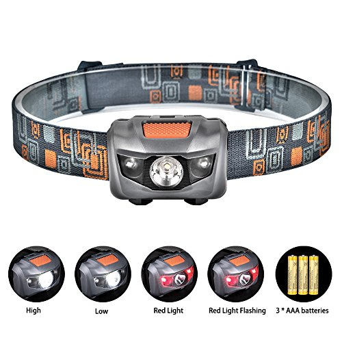 Linkax LED Headlamp Headlight Head Torch Super Bright 120 Lumens LED Head Lamp Flash Light 4 Modes Helmet Light for Running Camping Hiking Fishing 3 AAA batteries Included