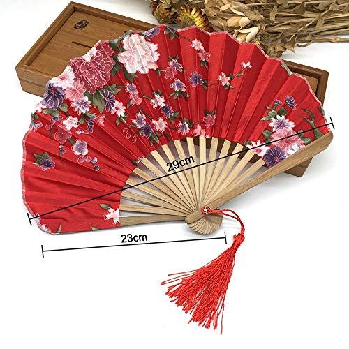 Tanz Taschen Kostüm - XIAOHAIZI Handfächer,1 Stück Pflanze Blume Rot Japanischen Stoff Blumenmuster Tasche Falten Bambus Fans Für Damen Geschenk Falten Fan Wanddekoration Tanz Fan