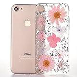 MAOOY iPhone 8 Schutzhülle, iPhone 7 Handyhülle, Bunter Getrocknete Blumenart und Glitter Goldfolie Jelly Schale Fall, Flexible Weich Gummi Cover für iPhone 7/8, Pinke Blumen