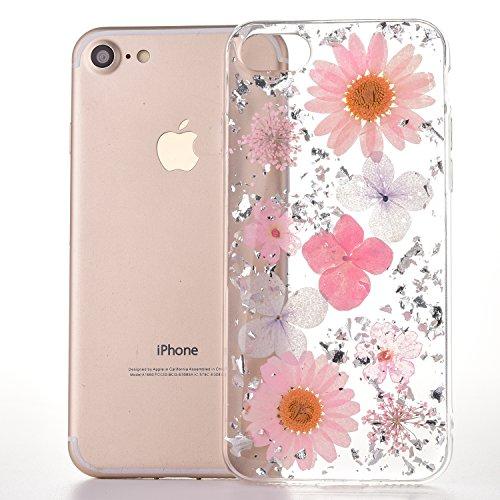 MAOOY iPhone 6s Schutzhülle, iPhone 6 Handyhülle, Bunter Getrocknete Blumenart und Glitter Goldfolie Jelly Schale Fall, Flexible Weich Gummi Cover für iPhone 6/6s, Pinke Blumen -