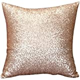 Toraway Sólido de la manera del color del brillo de las lentejuelas Throw Pillow caso Cafe Decoración del hogar Cubiertas cálido colchón (45_x_45_cm, Dorado)