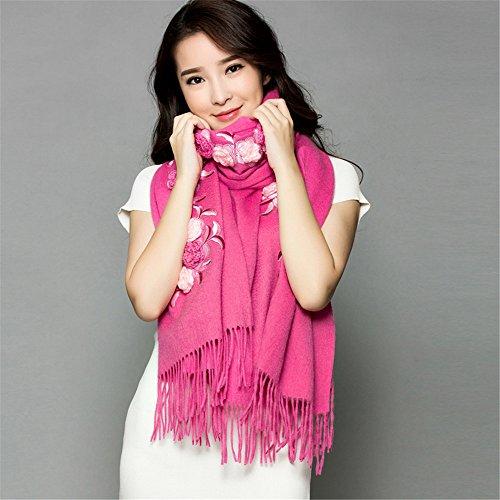 Fleurs brodées, mesdames, de la laine, de la laine, automne, hiver, cachemire, châle, écharpe, rectangulaire 200cm*70cm, noir Femmes, festivals, cadeaux d'anniversaire Rose Pink
