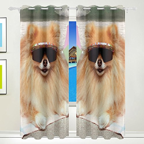 XiangHeFu Schöne Einrichtung Verdunklungsvorhänge mit Tülle Top Dog Sonnenbrille liegend auf Strandtuch Vorhänge Set von 2Platten, je 55W x 84L Zoll für Home Wohnzimmer Schlafzimmer Büro
