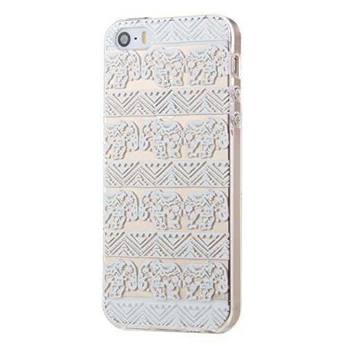 Etsue TPU Silikon Hülle für iPhone SE/iPhone 5S Aztec Tribal Henna Floral Mandala Blume Muster, Bunte Malerei niedlich Karikatur Retro Painted Transparent Handyhülle Soft Back Cover Ultra Slim Weiche  Weiß Blumen muster #4