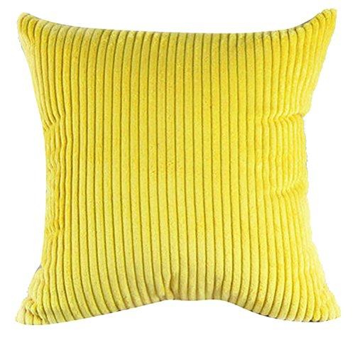 Fodera per cuscino quadrato/rettangolo di colore Cnady ChezMax velluto a coste a righe throw pillow case sham Slipover Pillowslip Federa per la casa divano letto sedia sedile posteriore, Yellow, 28*28''WITHOUT FILLER