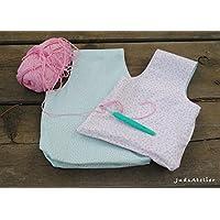 Bolsa para labores, bolsa porta ovillos para proyectos de crochet y punto, es reversible