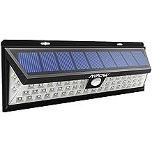 54 LEDs Lámparas Solares Mpow de Foco Solares LED 800lm, Iluminacion Exteriores Solar Impermeable Energía con Sensor de Movimiento 3-8m, Luz Solares de Seguridad, Focos Luz Paredes, Luz Solar Exterior para Jardín, Terraza, Garaje, Camino de Entrada,