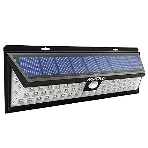 Mpow 54 LED Lampe solaire extérieure étanche IP65 sans fil 800 lumens Luminaire exterieur/ Spot exterieur 270° Grand Angle reglable avec détecteur de mouvement et Paneau Solaire pour Pati, jardin, cour, chemin,escaliers, clôture