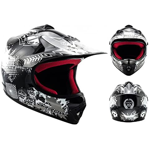 ARROW AKC-49 Black Casco Moto-Cross MX Pocket-Bike Scooter Racing Motocicleta NINOS Junior Helmet Cross-Bike Off-Road Sport Kids Quad Enduro, DOT Certificado, Incluyendo Bolsa de Casco , Negro, XS