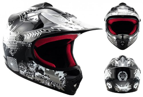 "Armor · AKC-49 ""Black"" (black) · Casco Moto-Cross · Enduro Off-Road Scooter Racing motocicleta NINOS Quad · DOT certificado · Click-n-SecureTM Clip · Bolsa de transporte · XS (51-52cm)"