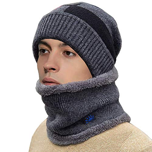FTEOX Winter Hat,Warm Knitted Hat Scarf Set Warm Knit Hat Thick Knit Skull Cap Outdoor Sports Hat Sets for Women&Men