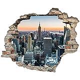 3D-Effekt Wandtattoo 'New York' | Aufkleber | Durchbruch | selbstklebendes Wandbild | Wandsticker | Stein | Wanddurchbruch | Wandaufkleber | Tattoo, Größe:60x50 cm