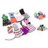Lance Home® 8 Vêtements et 10 Chaussures et 10 Sac à main pour Poupée Barbie (28Pcs)