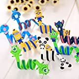#10: Zeito Cute Cartoon Cable Organizer Earphone Headphone Winder Cord Keeper Cable Wrap Tie Cord Manager Spiral Wire Protector - 8 Pieces per Pack