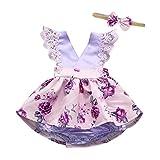Kleinkind-Baby-Mädchen-Sleeveless Spitze geraffte Spielanzug-Overall-Stirnband-Blumenausstattung