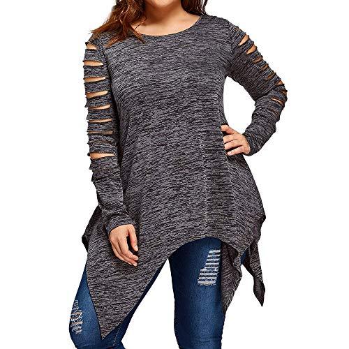 MYMYG Oberteile Damen Langarm Jumper Tunika Top Oversized Plus Größe Mode Bluse T-Shirt Bluse Tank Tops übergroßen Casual O-Ausschnitt unregelmäßigen Saum Bluse