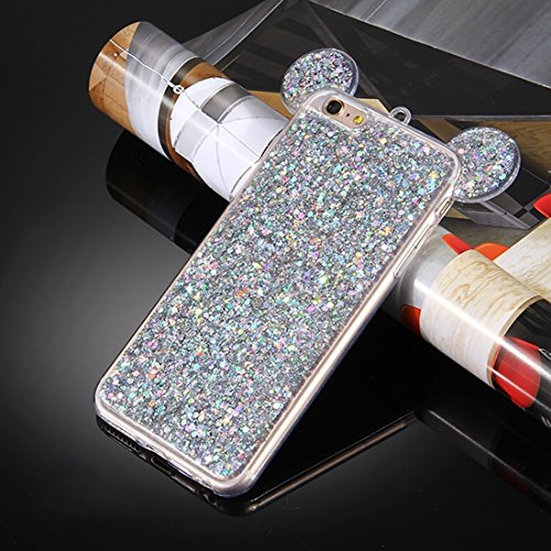 Phone case & Hülle Für iPhone 6 Plus / 6s Plus, Glitzer Powder Mouse Ohr Soft TPU Schutzhülle mit Sling Hole ( Color : Blue ) Silver