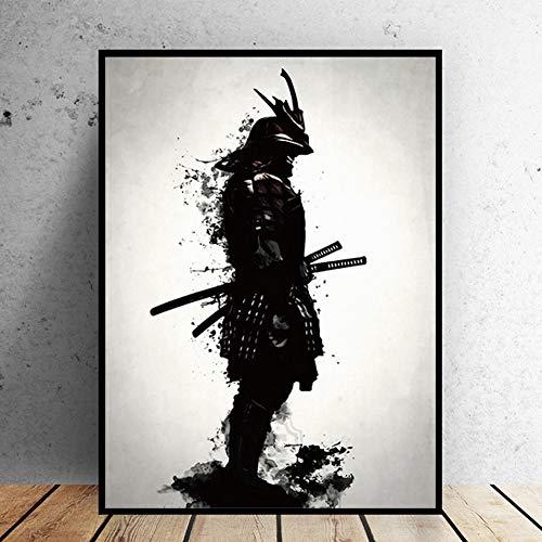 Samurai japonés pintura óleo lienzo cuadros arte