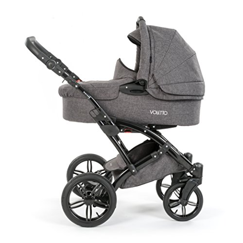 Knorr Baby Voletto 2in1 Kombikinderwagen / Kinderwagen Set inkl. Babywanne und Buggy Sportwagen Aufsatz / Melange Grau