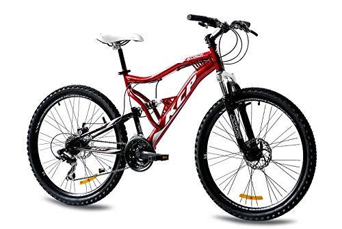 KCP 26 Zoll Mountainbike Fahrrad - MTB Attack rot schwarz - Vollfederung Mountain Bike Unisex für Herren, Damen oder Jungen, MTB Fully mit 21 Gang Shimano Schaltung und Zwei Scheibenbremsen