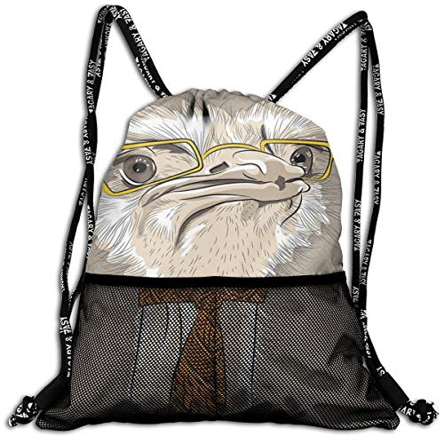 EELKKO Mesh Beam Backpack Lightweight Foldable Large Capacity Drawstring Casual Rucksack, Sketch Portrait of Funny Modern Ostrich Bird with Yellow Eyeglasses and Tie,Unisex Fitness Bag -