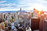Fototapete New York Skyline Wandbild Dekoration Sonnenuntergang Manhattan Penthouse Panoramablick USA Deko Amerika Big Apple | Foto-Tapete Wandtapete Fotoposter Wanddeko by GREAT ART (336 x 238 cm)