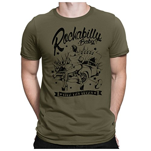 PAPAYANA - Rockabilly-Viva-LAS-Vegas - Herren Fun T-Shirt - Lucky Poker Black Jack Game Casino Strip Strong - M Oliv -