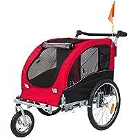 Mejor elección productos 2en 1perro de mascota bicicleta remolque de bicicleta remolque cochecito Jogger W/suspensión rojo