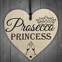 RED OCEAN Prosecco Princess Wooden Hanging Heart Alcohol Joke Sign Bottle Topper Plaque