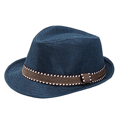 Lonshell_Damen Cap Kinder Mädchen Junge Mode Jazz Mütze Kappe Strand Sonnenhut Faltbarer Trilby Gangster Hut mit Sonnenschutz breite Krempe für 2-6 Jahre Baby (Blau)