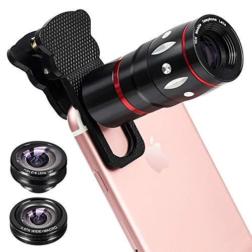CLM-Tech Objektiv Handy-Kamera 4in1 universelles Teleobjektiv 10-Fach Zoom Teleskop Weitwinkel-, Fischauge- und Makro Linse für Smartphones, schwarz
