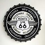 Eureya Plaque en métal Bouchon de Bouteille de bière Plaque pour Home Café Bar Décoration Murale 35x 35cm-Parfait Souvenir, Arizona Route US 66, 35X35cm