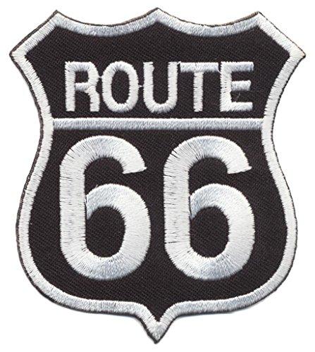 Route 66 Aufnäher Aufbügler Motorrad Chopper Biker USA black iron sew on patches by speedmaster-patchshop