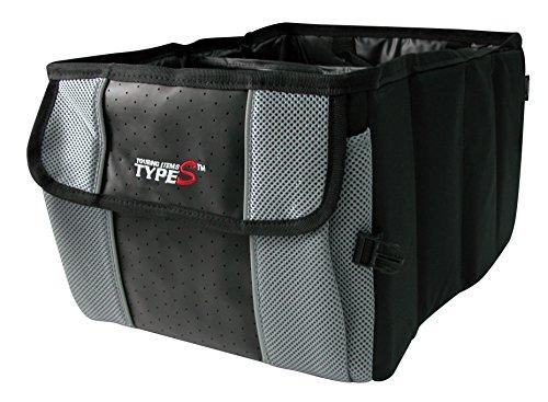 Kofferraumtasche, zusammenfaltbar, mit Trageschlaufen. Lederoptik mit Mesh, grau (Type S-Serie)