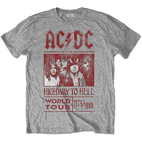 1979 Tour T-shirt (Rockoff Trade Herren ACDC Highway to Hell World Tour 1979/80 T-Shirt, Grau, Medium)