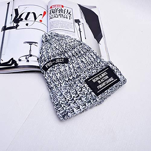 geiqianjiumai Neue warme gestrickte Wollmütze Verdickung sowie Samt Mischfarbe Doppeletikett Männer und Frauen Hut Spitzen Hut Neue Doppel-Patch grau A-197-Code hat - Doppel Kostüm Für Paare